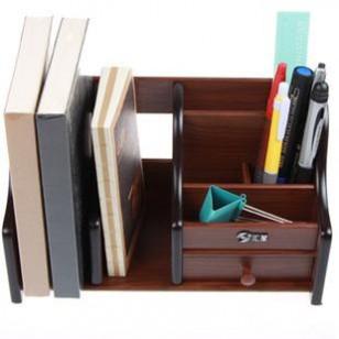 汇星HX-1036木质笔筒 多功能组合 带抽屉 收纳盒 桌面办公礼品