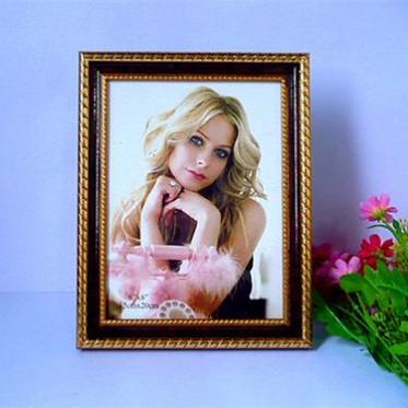 6寸7寸8寸相框金色畫框擺臺掛墻 影樓兒童像框禮品塑料照片框批發